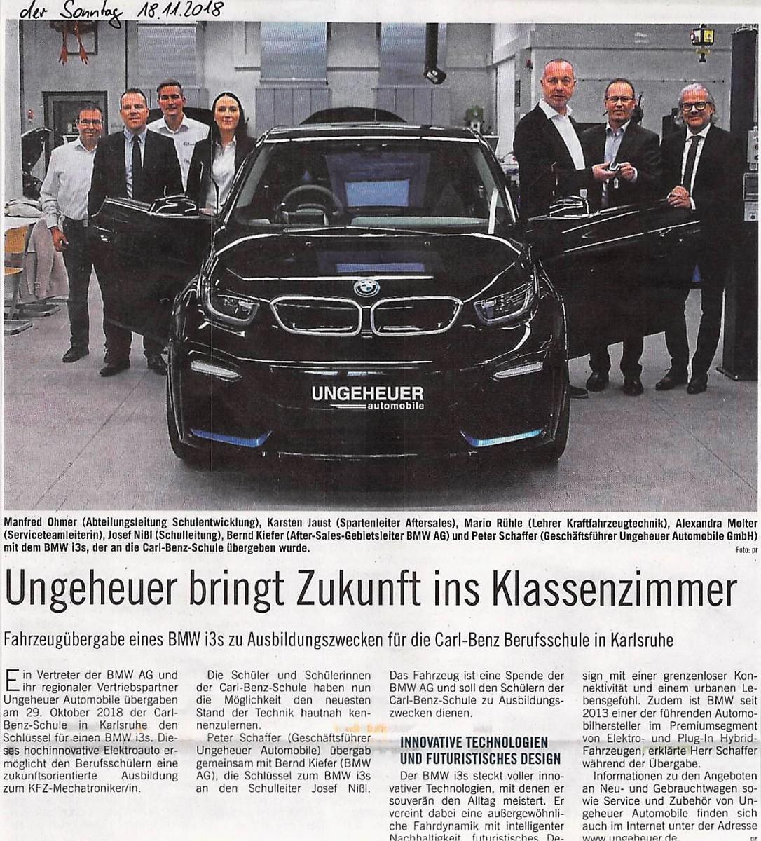 Fahrzeugübergabe Eines Bmw I3s Carl Benz Schule
