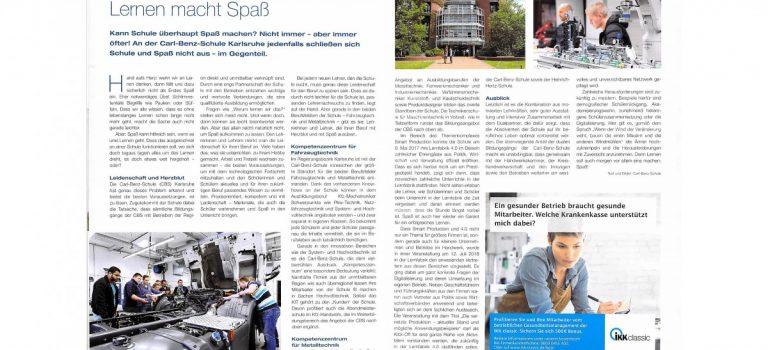 Die CBS im Magazin der Kreishandwerkerschaft Region Karlsruhe